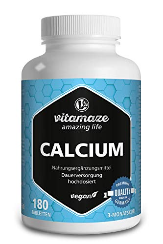 Calcium Tabletten hochdosiert vegan, 180 Tabletten für 3 Monate, 800 mg Kalzium-Carbonat pro Tagesdosis, Organische Nahrungsergänzung ohne Zusatzstoffe